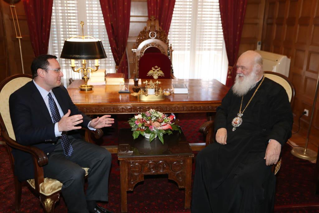 O Γενικός Γραμματέας Δημόσιας Διπλωματίας, Θρησκευτικών και Προξενικών Υποθέσεων στον Μακαριώτατο Αρχιεπίσκοπο Αθηνών  κ.κ. Ιερώνυμο