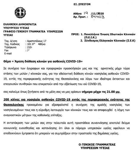 Λήγει το τελεσίγραφο για επίταξη των ιδιωτικών Κλινικών της Θεσσαλονίκης από το Υπουργείο Υγείας (ΕΓΓΡΑΦΟ)