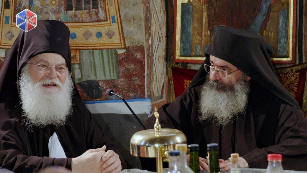 Ομιλία του Γέροντος πατρός Εφραίμ στην Τράπεζα της Ιεράς Μονής  (VIDEO)